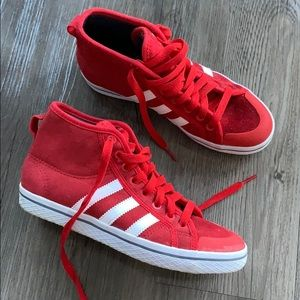 Red High Top Adidas Sneakers